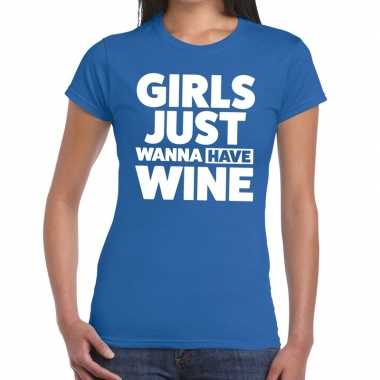 Toppers - girls just wanna have wine tekst t-shirt blauw dames