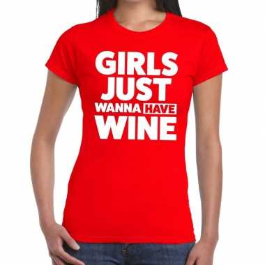 Toppers - girls just wanna have wine tekst t-shirt rood dames