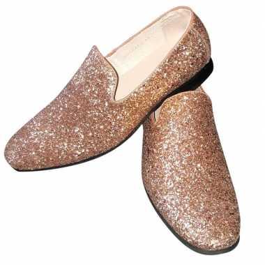 Toppers - gouden glitter disco instap schoenen voor heren