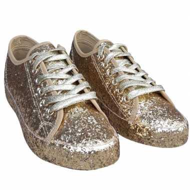 Toppers - gouden glitter disco sneakers/schoenen voor dames
