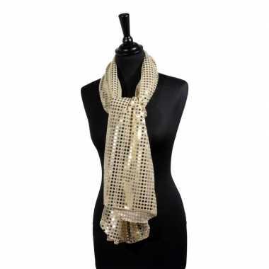 Toppers - gouden glitter pailletten disco sjaal