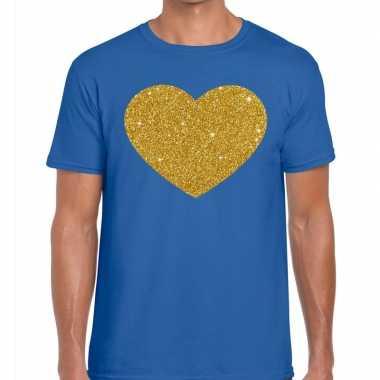 Toppers - gouden hart glitter fun t t-shirt blauw heren