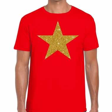 Toppers - gouden ster glitter fun t-shirt rood heren