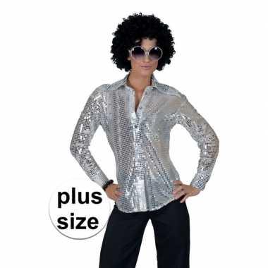Toppers - grote maat zilveren disco verkleed blouse voor dames
