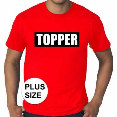 Toppers - grote maten topper in kader t-shirt rood heren