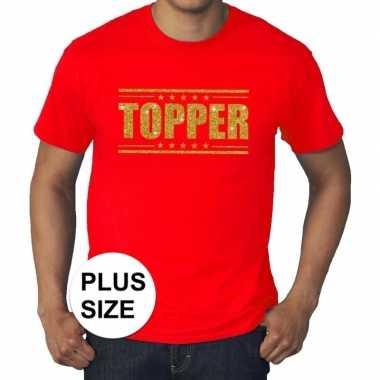 Toppers - grote maten topper shirt rood met gouden glitters heren