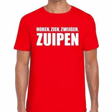 Toppers - horen zien zwijgen zuipen heren t-shirt rood