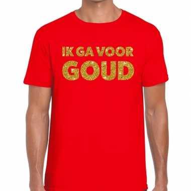 Toppers - ik ga voor goud glitter tekst t-shirt rood heren