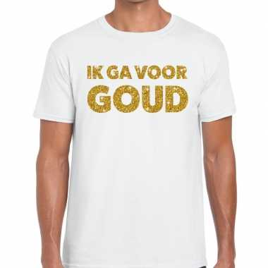 Toppers - ik ga voor goud glitter tekst t-shirt wit heren