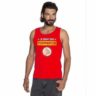 Toppers - je bent een toppertje tanktop/ mouwloos shirt rood heren