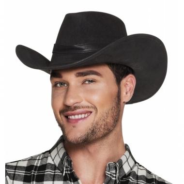 Toppers luxe zwarte cowboyhoed wyoming lederlook voor volwassenen