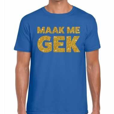 Toppers - maak me gek glitter tekst t-shirt blauw heren