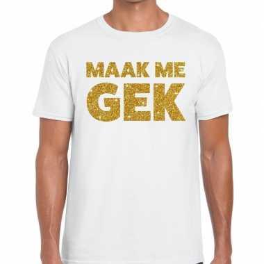 Toppers - maak me gek glitter tekst t-shirt wit heren