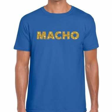 Toppers - macho goud glitter tekst t-shirt blauw heren