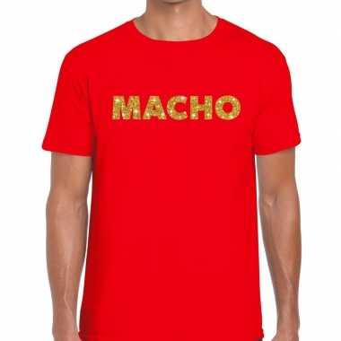Toppers - macho goud glitter tekst t-shirt rood heren