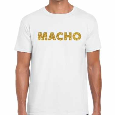 Toppers - macho goud glitter tekst t-shirt wit heren