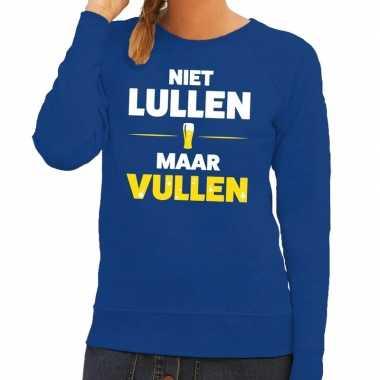 Toppers - niet lullen maar vullen tekst sweater blauw voor dames