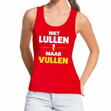 Toppers - niet lullen maar vullen tekst tanktop / mouwloos shirt rood