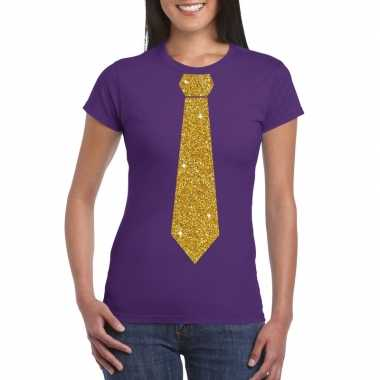 Toppers - paars fun t-shirt met stropdas in glitter goud dames