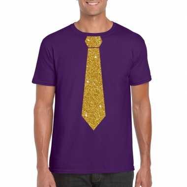 Toppers - paars fun t-shirt met stropdas in glitter goud heren