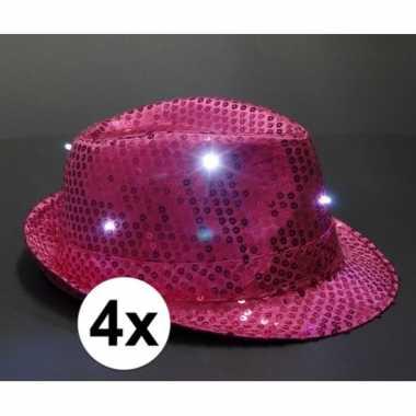 Toppers pailletten hoedjes roze met led licht 4 stuks
