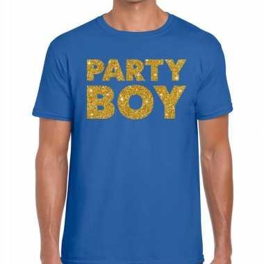 Toppers - party boy glitter tekst t-shirt blauw heren