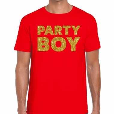 Toppers - party boy glitter tekst t-shirt rood heren