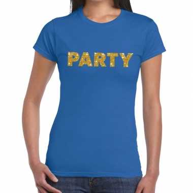 Toppers - party goud glitter tekst t-shirt blauw dames