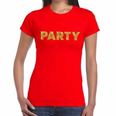 Toppers - party goud glitter tekst t-shirt rood dames