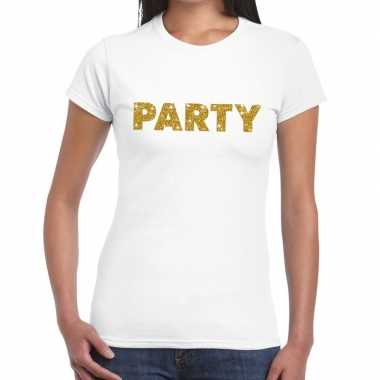 Toppers - party goud glitter tekst t-shirt wit dames