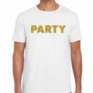 Toppers - party goud glitter tekst t-shirt wit heren