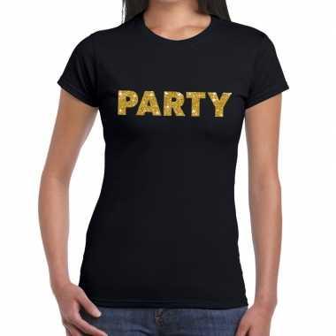 Toppers - party goud glitter tekst t-shirt zwart dames
