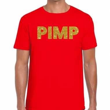 Toppers - pimp glitter tekst t-shirt rood heren