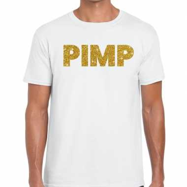 Toppers - pimp glitter tekst t-shirt wit heren