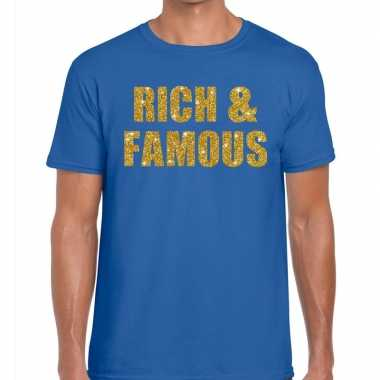Toppers - rich and famous glitter tekst t-shirt blauw heren