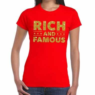 Toppers - rich and famous goud glitter tekst t-shirt rood dames
