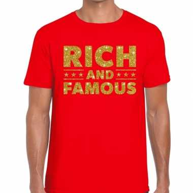 Toppers - rich and famous goud glitter tekst t-shirt rood heren