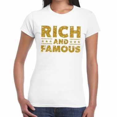Toppers - rich and famous goud glitter tekst t-shirt wit dames