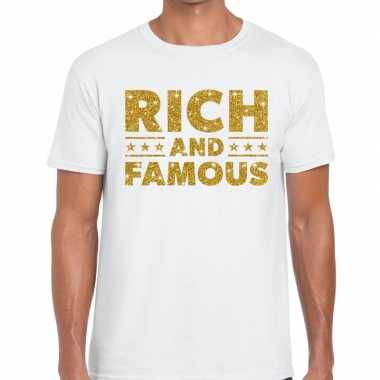 Toppers - rich and famous goud glitter tekst t-shirt wit heren