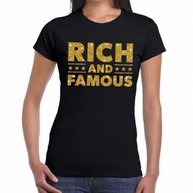 Toppers - rich and famous goud glitter tekst t-shirt zwart dames