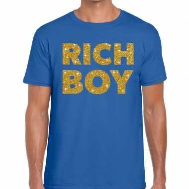 Toppers - rich boy goud glitter tekst t-shirt blauw heren