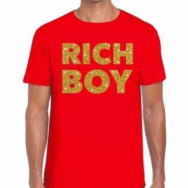 Toppers - rich boy goud glitter tekst t-shirt rood heren