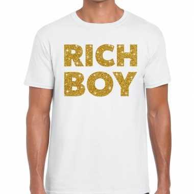 Toppers - rich boy goud glitter tekst t-shirt wit heren