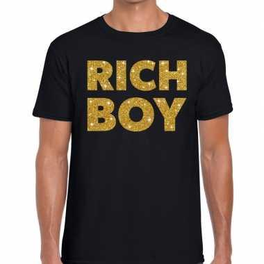 Toppers - rich boy goud glitter tekst t-shirt zwart heren