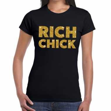 Toppers - rich chick goud glitter tekst t-shirt zwart dames