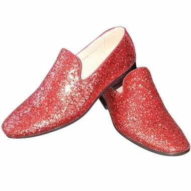 Toppers - rode glitter disco loafers/instap schoenen voor heren
