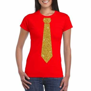 Toppers - rood fun t-shirt met stropdas in glitter goud dames
