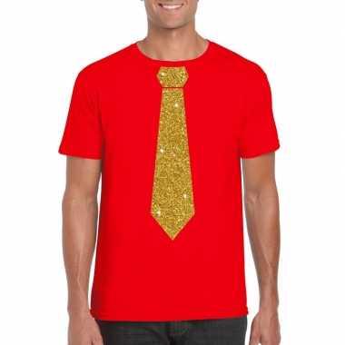 Toppers - rood fun t-shirt met stropdas in glitter goud heren