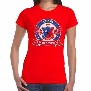Toppers - rood kort en pittig team t-shirt dames