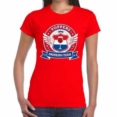 Toppers - rood toppers drinking team t-shirt dames
